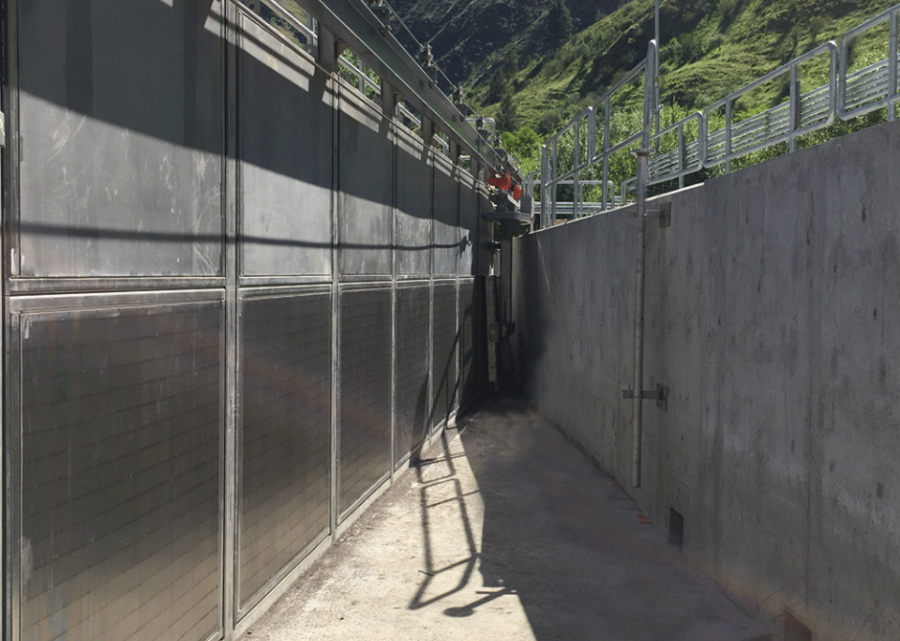 This bank of flat panel screens provides clean water to the Rapid River Fish Hatchery in Riggins, ID.